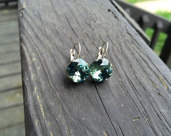 Light Green Swarovski crystal drop down earrings cushion cut 12 mm