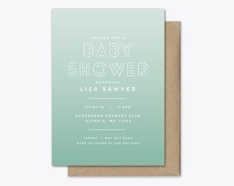 Ombre Baby Shower Invitation Printable