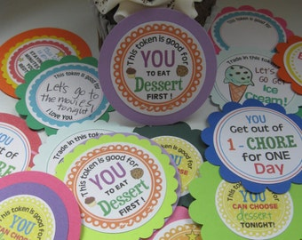 Kids REWARD tokens & chore cards too - set of 16!