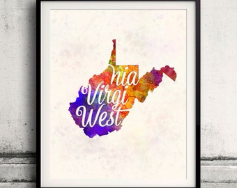 West Virginia - Map in watercolor - Fine Art Print Glicee Poster Decor Home Gift Illustration Wall Art USA Colorful - SKU 1736