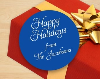 Personalized Hapy Holiday Gift Stickers