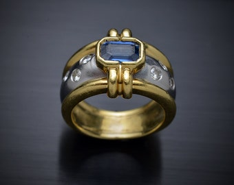 18kt Gold with Platinum Blue Sapphire and diamonds