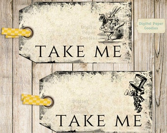 Take Me Tags Alice in Wonderland Wedding Favor Tags Party Favor tags, Take Me labels, Digital Collage Sheet DIY Printable Download