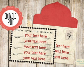 Alice in Wonderland invitation printable envelope