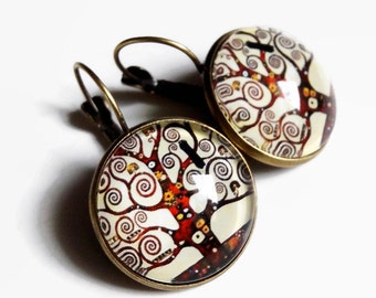 "Earrings sleepers ""Tree of life, Klimt"" beige Brown spiral tree, glass cabochon"
