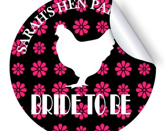 Set of 12+ Flower Hen Silhouette Personalised Hen Party Stickers - 50/60/70mm