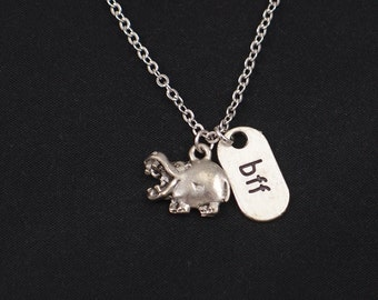 bff hippo necklace, best friends forever, silver hippopotamus charm,hippo pendant,animal necklace,kid jewelry,zoo necklace,hippopotamus gift