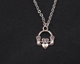 tiny claddagh necklace, silver claddagh charm on silver plated chain, love, loyalty, friendship symbol, Irish claddagh charm