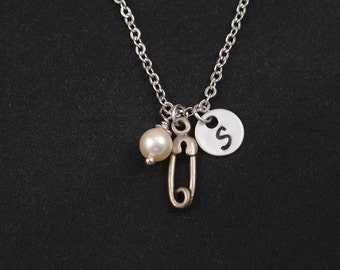 safety pin necklace, sterling silver filled, initial necklace, Swarovski pearl choice, silver safety pin charm,baby theme,safety pin jewelry