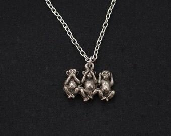 three monkeys necklace, sterling silver filled, silver monkeys charm,see no evil hear no evil speak no evil,wise monkey, Christmas gift