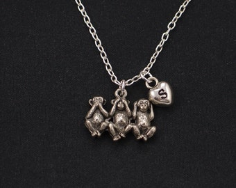 three monkeys necklace, sterling silver filled, initial necklace, see no evil hear no evil speak no evil, silver monkey, three wise monkeys