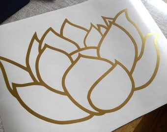 MANY COLORS AVAILABLE, Vinyl Lotus decal, yoga sticker, lotus flower laptop decal, decorative wall sticker, removable lotus wallpaper