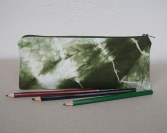 Olive Green Linen Pencil Case, Hand Dyed Zipper Pouch, Tie Dye, School supplies, Minimalistic, Vegan