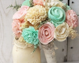 Rosy Pink and Mint Bouquet, Sola Bouquet