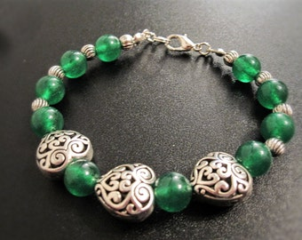 Red or green jade and silver heart bracelet