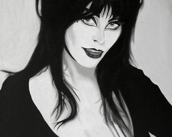 Elvira Fine Art Print (Elvira, Mistress of the Dark - B-movie - Horror - Camp - Horror Movies - Vamp - Halloween - Valley Girl - Icon)