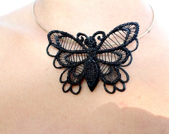 The butterfly effect necklace, lace, delicate and smart Black jewel, fantasy, fairy, spring, printed 3d pen,-the butterfly effect