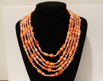 Free Shipping Vintage Salmon/Orange Five Strand Plastic Necklace.