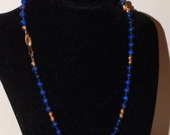 "Vintage 14k Yellow gold Genuine Lapis Bead 18"" Necklace."