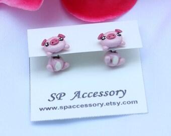 Pink Pig Earrings, pig earrings clay, clay earrings, pink pig stud
