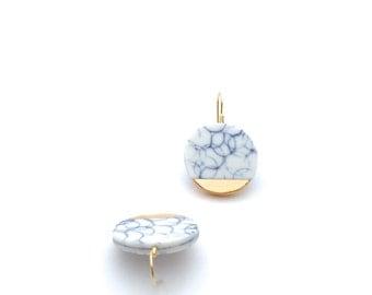 Porcelain Earrings, White, Blue, Delft Blue, Porcelain Jewelry, Gold Earrings, Ceramic Jewelry, Ceramic Earrings, Spring Fashion