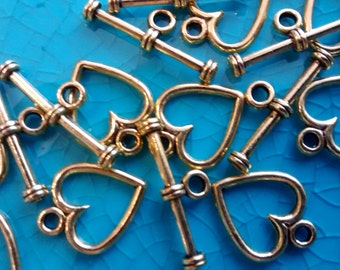 10 sets of Heart gold tone toggle clasps jewellery findings