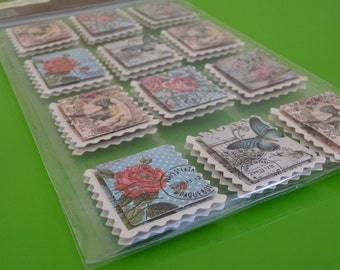 12 pcs Shabby chick stamp dimensional stickers scrapbook stickers cardmaking butterfly stickers Paris stickers