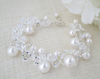 Swarovski crystal and pearl cluster bracelet, Statement bridal bracelet