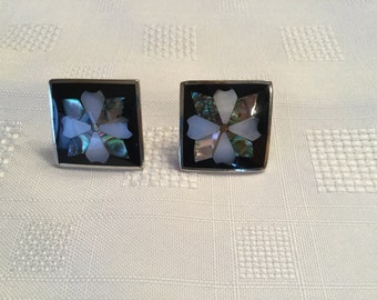 SALE  ****  MOTHER of PEARL and Abalone Clip earrings  Approx 1 inch square. 1950's vintage