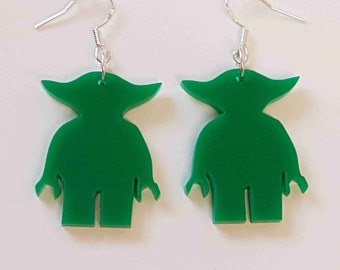 Lego Yoda Silhouette Earrings - Acrylic