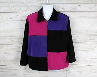 Vtg Color Block Jacket by Briggs Women Size 18 petite, Red/Brown/Black/Purple - Full Zip Fitted Jacket - High Fashion