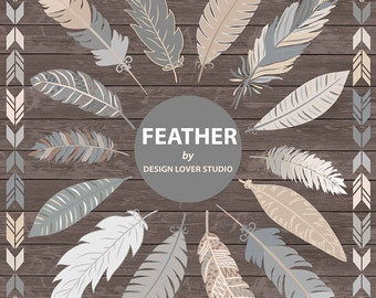 VECTOR Tribal clipart, grey feathers, feather clipart, Navaho clipart, feather, Native American Style, feather clipart