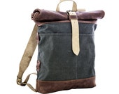 Sale 25% Canvas and leather backpack Roll top backpack by Kruk Garage Made of British army duffle bag Men's backpack Black Friday Sale