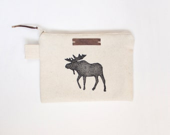 Moose Zipper Jewelry Pouch, Pencil Case, Purse, Cosmetic bag with handmade print