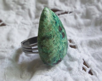Chrysocolla Teardrop Ring