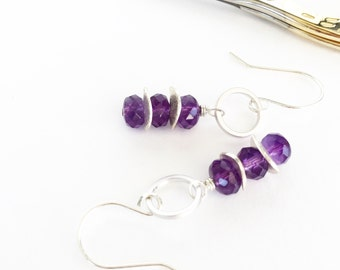 Modern Amethyst Stacked Earrings on Handcrafted Sterling Silver Ear Wires