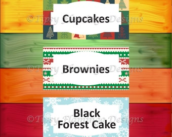 Christmas Party Food Tent Cards, Ugly Sweater, Holiday Party, Party Supplies, DIY Customizable, Instant Download - TFD417