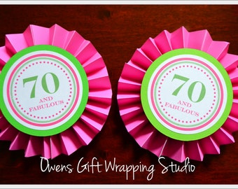 Set of 2 Paper Rosettes, 70th Birthday Decorations, Pink Paper Rosettes, Purple Paper Rosettes by Owens  Celebrations