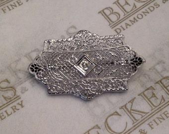 Antique Art Deco 14k wg Filigree Scalloped Shield Shaped Pin Brooch One Old European Cut Diamond .07 ct K-I1
