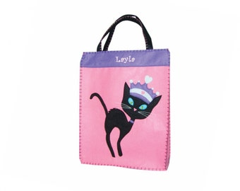 Personalized Princess Black Cat Trick or Treat Bag - XL