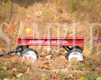 Autumn red wagon digital backdrop