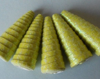 5 Handmade glitter paper cone beads, pale lime green