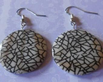 Handmade earrings, crazy paving shell