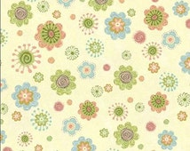 Nighty Night Owl Whimsical Flower Toss - Green/Multi on Cream / 1/2 Yard and Fat Quarter cuts / Wilmington Prints