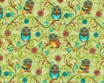 Who's Who? By Paintbrush Studio (120-2211) /  Owl Material / Owl Fabric  / 1/2 Yard and Fat Quarter cuts