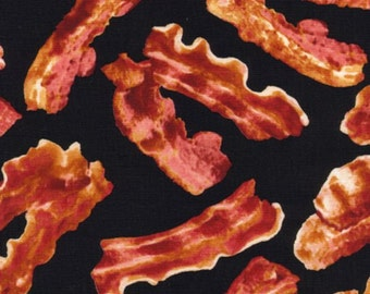 Bacon on Black Fabric by Timeless Treasures FOOD- C8879 -BACON / Fat Quarter / Bacon by the yard