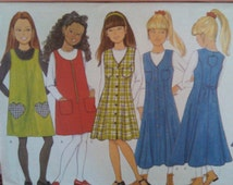 1996 Butterick Pattern 4696-Girl's Sz-7-8-10-Jumper and Top w Pocket & Front Options (Button-Zipper-Pullover)-Length-Fitting Options-UNCUT