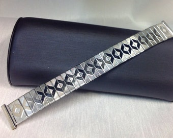 Metal Watch Band Stainless Steel Classic Expansion, Band 16mm, Fits 16mm to 18mm,Exbandable Watch Strap