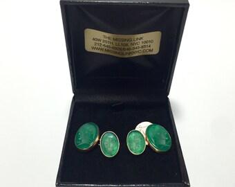Vintage Pair 14K Intaglio Green Stone Cufflinks with Box