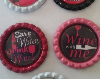5 Wine themed bottle cap magnets cupcake toppers party favors